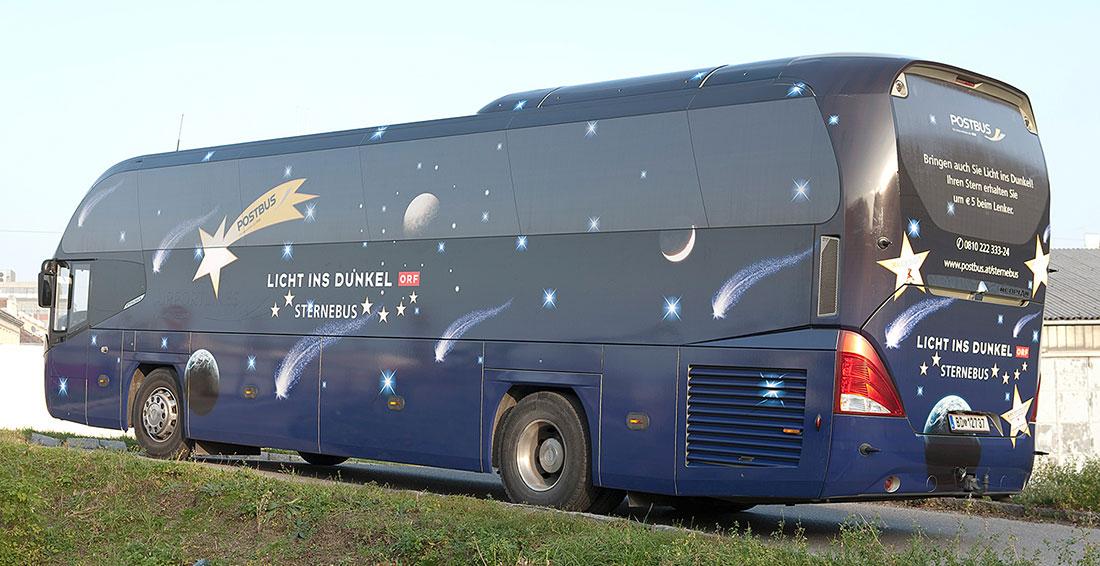 Kreative Werbekampagne Sternebus Licht ins Dunkel!